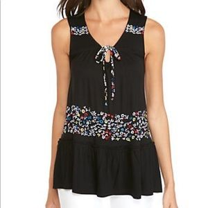 Cupio Bohemian Floral Embroidered Tiered Tank S